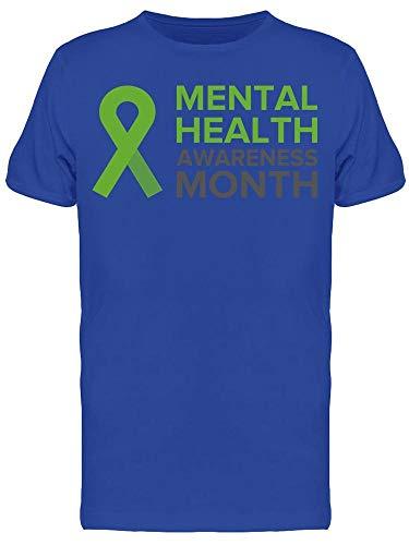 Camiseta masculina com fita de conscientização da saúde Mental, Azul royal, M