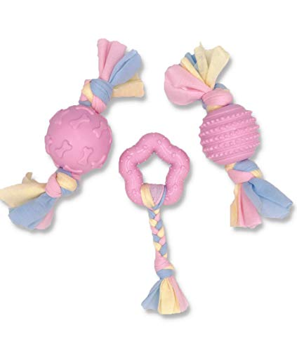 Puppy Teething Toys, Dog Chew Toys Set with Cotton Cloth Rope for Puppies and Small Dogs Pink