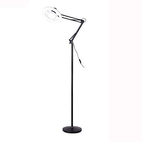 Floor Lamp LED Beauty Eye-Care Lamp Shadowless Cold Light Professional Manicure Eyelash Tattoo Living Room Bedroom Reading Folding Standing Lamp Black-24W
