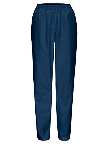 DESERMO® Schwesternhose Schlupfhose mit Gummibund aus reiner Baumwolle | Pflegerhose | bequeme Medi Hose - Gr. 42, Blau