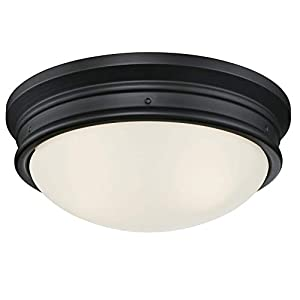 Westinghouse Lighting 6324100 Meadowbrook Two-Light Indoor Flush-Mount Ceiling Fixture, Matte Black Finish with Frosted Glass
