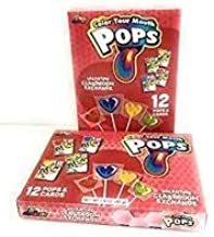 Valentines Day Classroom Exchange Gift | Color Your Mouth Pops 24 Valentine Cards & 24 Lollipops Flavored Candies | Teachers Card | Kids DIY DayCare Sunday School Homeschool Art Projects Part