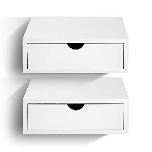 SUENOSZZZ - Pack de 2 mesitas de Noche Flotante Color Blanco Vintage, Estilo nordico para Dormitorio Mesita con Cajon, para Colgar | Mueble de Madera para dormitorios | Mesa/Comoda con Cajon