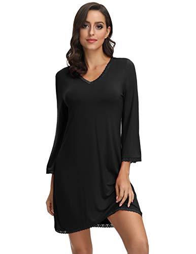 Zexxxy Damen Nachthemd Langarm V-Ausschnitt Spitze Nachthemd Schlafkleid Nachthemden für Damen Schwarz XL