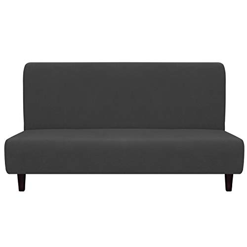 Easy-Going Fleece Stretch Sofa Slipcover – Spandex Anti-Slip Soft Couch Sofa Cover, Armless Washable Furniture Protector with Elastic Bottom for Kids, Pets(Futon, Dark Gray)