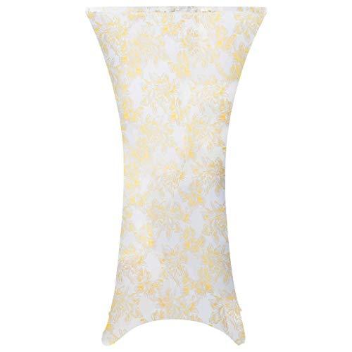 Decoratieve hoezen 2 stuks stretch-tafelkleden wit met gouden opdruk 80 cm