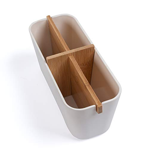 KARBAN Organizer - Platzsparende Aufbewahrungsbox mit 4 Fächern - Stilvolle Aufbewahrung als Bad Organizer, Beautybox oder als Stiftehalter auf dem heimischen Schreibtisch - 10x8x21cm (HxBxT) weiß