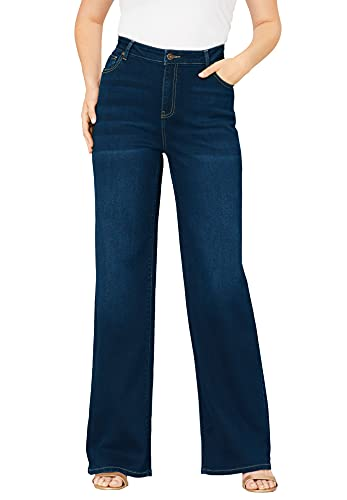 Roamans Women's Plus Size Wide-Leg Jean with Invisible Stretch Soft Comfortable - 16 W, Medium Wash