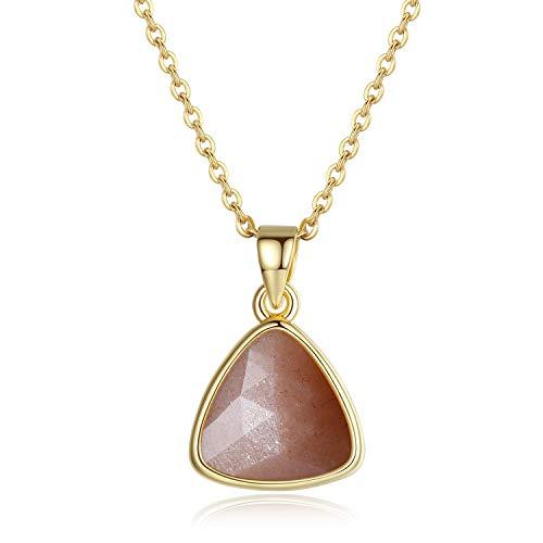 coai Geschenkideen Damen 925s Halskette mit Dreieck Anhänger aus Sonnenstein Sommer Kette
