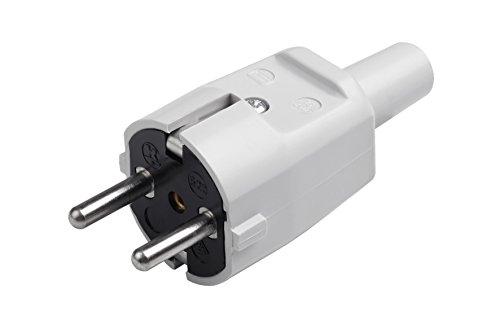 Meister Schutzkontakt-Stecker - PVC - grau - 250 V - 16 A - Maximaler Kabelquerschnitt 1,5 mm² - IP20 Innenbereich - Zentrale Einführung / Schuko-Stecker mit Knickschutztülle / 7421330