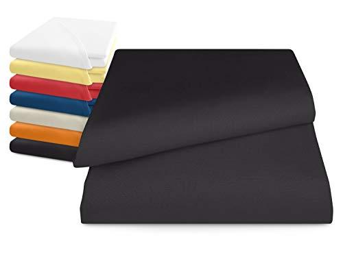 npluseins klassisches Betttuch ohne Gummizug - Einheitsgröße von ca. 150 x 250 cm in 7 Uni-Farben erhältlich, anthrazit