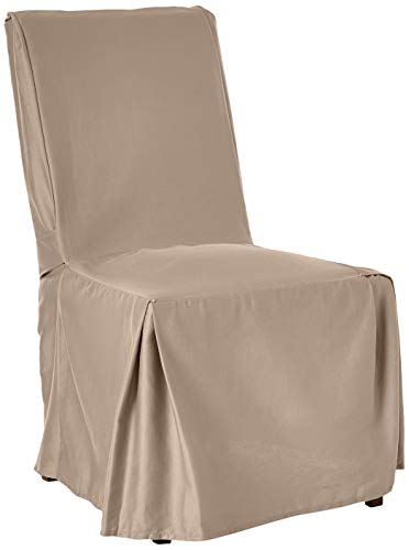 """Surefit Duck Long Solid Dining Chair Slipcover-One Piece-100% Cotton – Up to 42"""" Tall-Machine Washable, Dining Chair, Navy"""