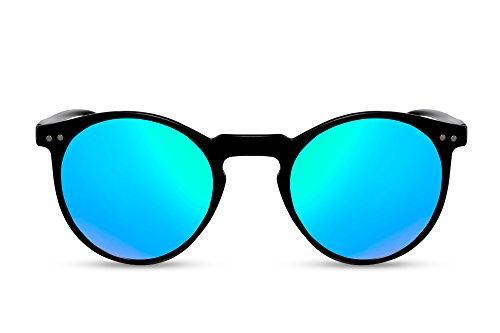 Cheapass Gafas de Sol Redondas Negras Azules Verdes Espejadas UV400 Vintage Retro Mujer Hombre