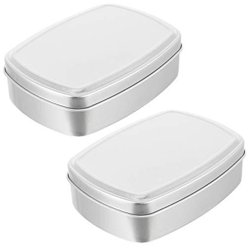 Cabilock 2 stuks 150 ml aluminium zeepdoos mini draagbare kleine opbergdozen cosmetica case parels sieraden lege doos met deksel voor thuis op reis (zilver)