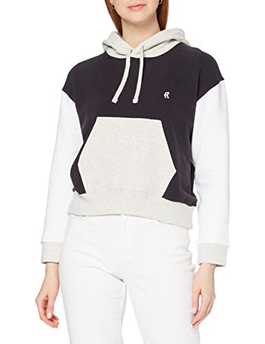 French Connection Sunday Sweat LS Hoodie Felpa con Cappuccio, Util Bl/Somma Wh/DV Gr, L Donna