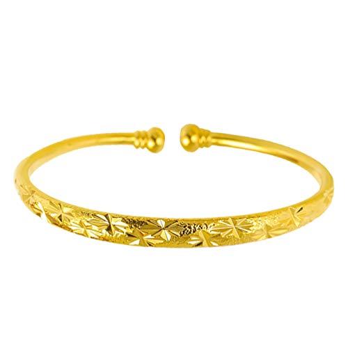 Holibanna Gold Armreifen Offene Manschette Armband Chinesische Traditionelle Armbänder Schmuck Geschenk für Braut Frauen Mädchen Baby Neugeborene (6N Babysbreath Stil) (Säuglingsatem)