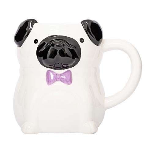 Fluffy Dreams – Die große Fantastic Fashion MOPS 3D Hunde Tasse Becher Mug aus Keramik in weiß-Flieder | handbemalt für Hunde Liebhaber | fasst ca. 400 ml Kaffee, Tee, Getränke