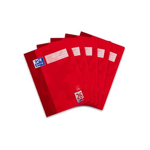 Oxford Schule Schulheft A4, kariert mit Rand, Lineatur 26, 16 Blatt, hochwertiges 90 g/m² Papier, rot, 5er Pack