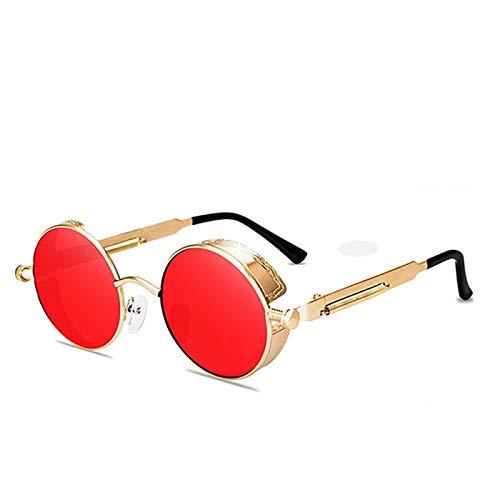 Sunglasses Gafas de Sol de Moda Gafas De Sol Redondas Steampunk para Hombres Y Mujeres, Gafas De Diseñador A La Moda, Mo