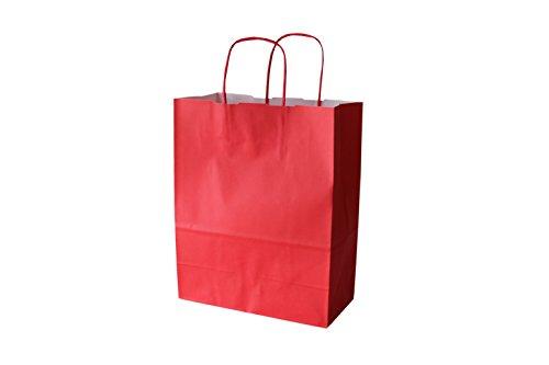PGV Papiertragetaschen farbig mit Kordel ROT Rosso - Verschiedene Größen und Mengen (36 + 13 x 41 cm, 50 Stück)