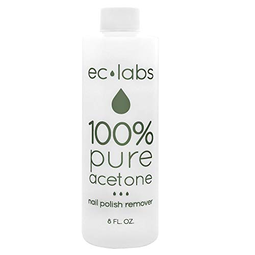 EC Labs Nail Polish Remover, 100% Professional Pure Acetone Ultra-Powerful and Quick for Natural, Gel, Acrylic, Shellac Nails and Dark Colored Paints – 8 Fl. Oz