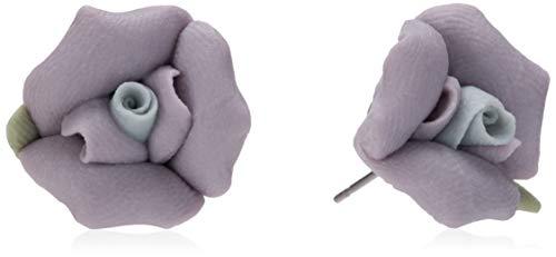 1928 Jewelry Classic Lavender Purple Porcelain Rose Post Stud Earrings