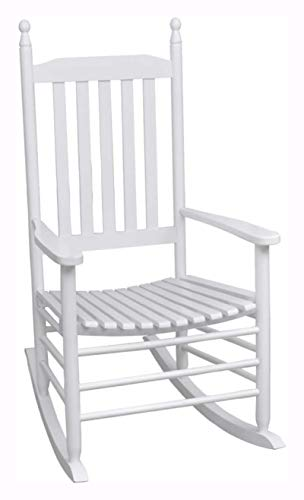 K&A Company Rocking Chair, Rocking Chair with Curved Seat White Wood