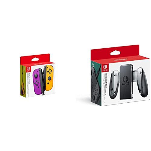 Nintendo Joy-Con 2er-Set, neon-lila/neon-orange & Nintendo Switch Joy-Con-Aufladehalterung