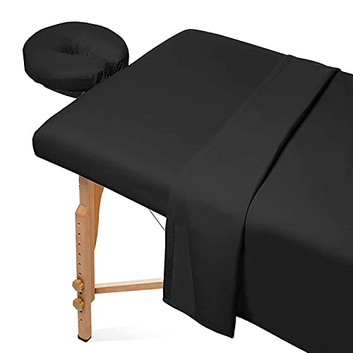 Avalon Care Premium Flannel Sheet Set – 3 Piece Massage Table Set Made from 100% Cotton – Set Includes 1 Fitted Sheet, 1 Flat Sheet and 1 Face Rest Cover (Black)