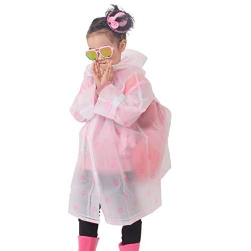 Regenbekleidung EVA-Kinder transparent mit Kapuze einteiliger langer atmungsaktiver Regenmantel, männliche und weibliche Studenten Kindergarten 1-10 Jahre alt Poncho 100% wasserdichter dünner Abschnit
