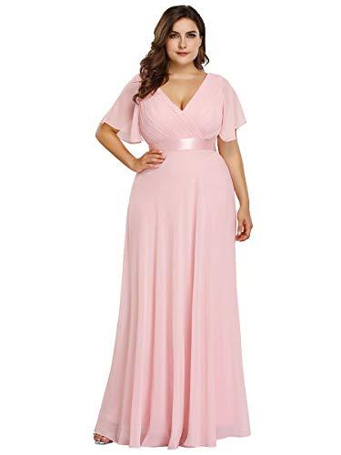 Ever-Pretty Vestido de Fiesta Noche Largo para Mujer Cuello V Manga Corta Talla Grande Rosa 36