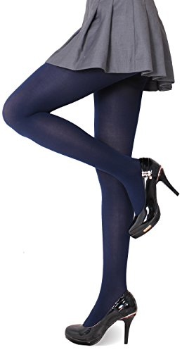 CozyWow Women's Solid Color Soft Semi Opaque Footed Tights Pantyhose(S-M, Dark Blue)