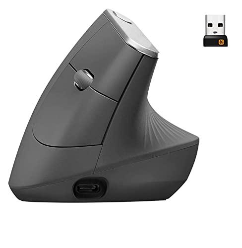 Bluetooth multi-dispositivo wireless ergonomico verticale Bluetooth multi-dispositivo o 2.4 GHz topi senza fili wireless con ricevitore USB Unifying 4000 DPI Tracciamento ottico 4 pulsanti Velocità di