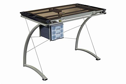 "Coaster Melo 3-Drawer Champagne and Smoke Drafting Desk, 41"" W x 24"" D x 32"" H, Chrome"