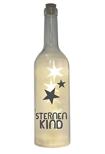 WB wohn trends LED-Flasche mit Motiv, Sternenkind, grau, 29cm, Flaschen-Licht Lampe mit Text Spruch Trauer Stern-Kind Baby