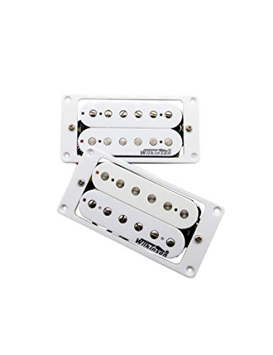Wilkinson Humbucker Double Coil Pickups WHHB (neck & bridge) Alnico 5 Magnet Copper-Nickel Base For Electric Guitar 1 set (white)