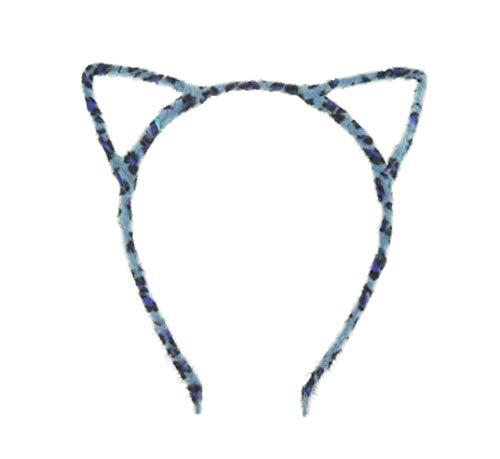 Damen Fuzzy Schablone Katzenohren Deeley Bopper schmales Stirnband Alice Band (Blue Leopard)