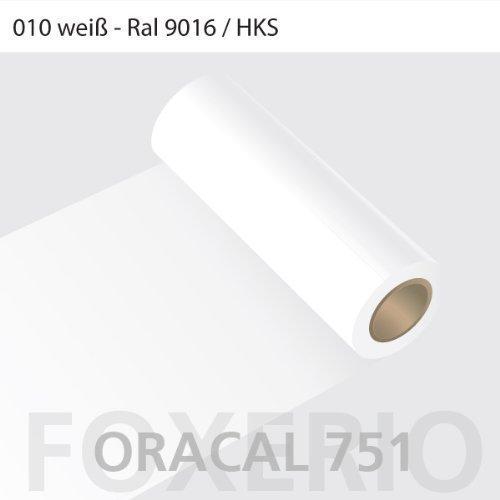 Orafol - Oracal 751 - 63cm Rolle - 10m (Laufmeter) - Weiß / hochglänzend, A83oracal - 751 - 10m - 63cm - 02 - kl - Autofolie / Möbelfolie / Küchenfolie