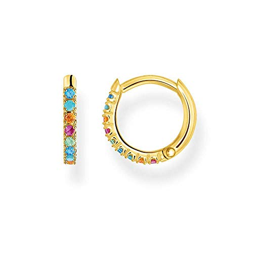 Thomas Sabo Women's Single Hoop Earrings Coloured Stones Gold 925 Sterling Silver Clip Closure