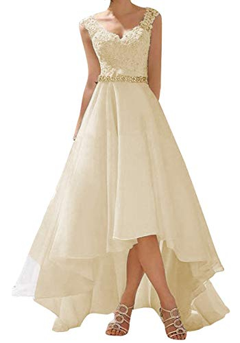 Abito da sposa a campana, in stile vintage/rustico, abito da cerimonia in pizzo, da donna avorio 50
