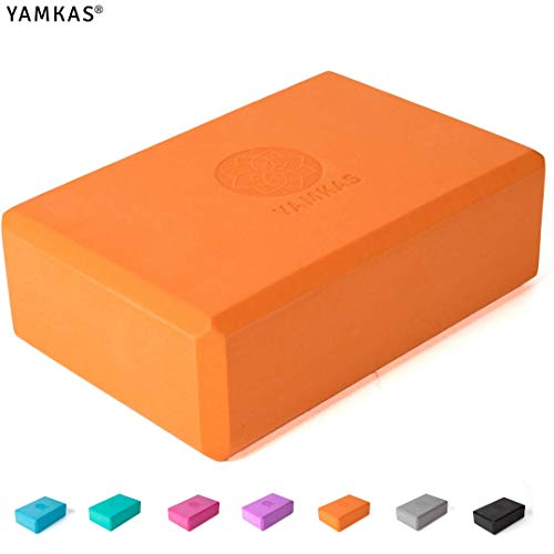 Yamkas Brique Yoga | Bloc de Yoga en Mousse EVA de Haute Densité | Yoga Block – Cube pour Pilates | Orange
