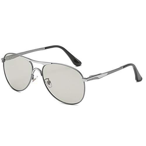WWDKF Gafas De Sol Hombre, Gafas De Sol Polarizadas Que Cambian De Color De Día Y De Noche, Las Lentes Pueden Detectar La Intensidad Y La Decoloración De Los Rayos Ultravioleta,A