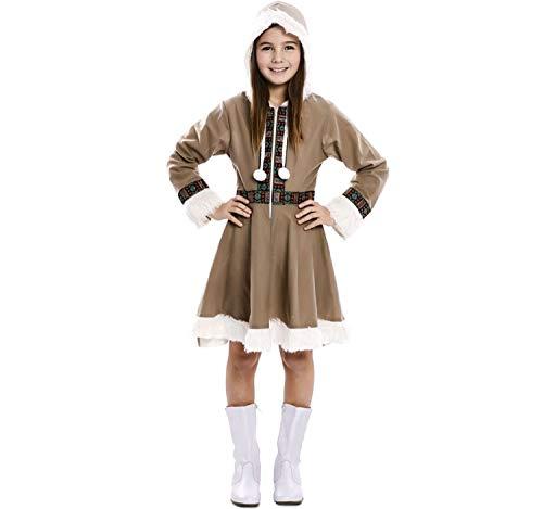 EUROCARNAVALES Kinder Kostüm Eskimo Mädchen Inuit Greta Kleid Fasching Karneval Polar (10-12 Jahre)