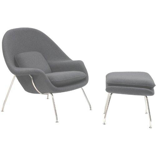 Hot Sale LexMod Eero Saarinen Style Womb Chair and Ottoman Set in Light Gray