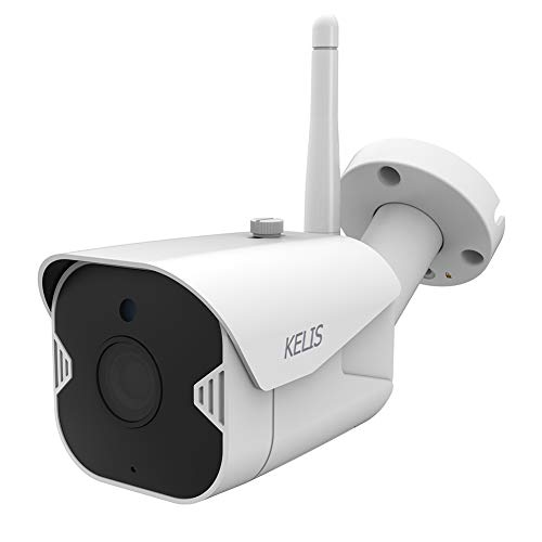 KELIS Outdoor Security Camera -1080P WiFi Bullet Surveillance Camera IP66 Waterproof Camera w/IR Night Vision, Activity Alarm, Encrypted Cloud & MicroSD Storage for Android/iOS, Alexa Compatible