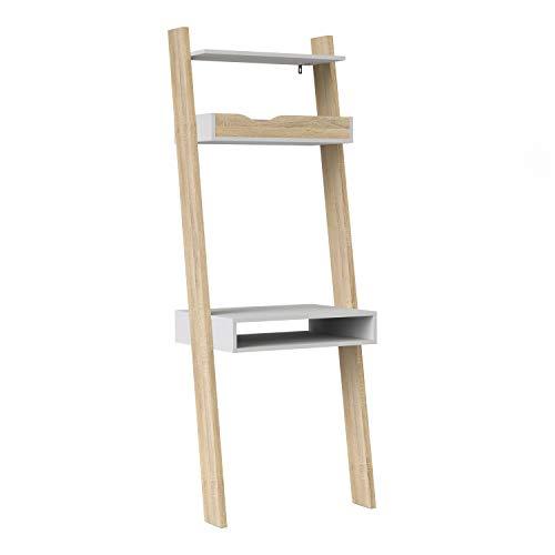 Furniture To Go Oslo Leaning Desk in White and Black Matt