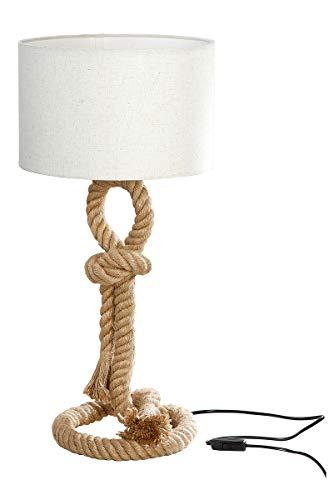 GILDE Lampe Tau-Design - aus Metall mit Tau und cremefarbenem Schirm H 62 cm