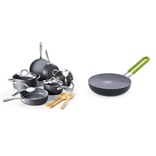 """GreenPan Lima Healthy Ceramic Nonstick, Cookware Pots and Pans Set, 12 Piece, Gray & Mini Healthy Ceramic Nonstick, Round Egg Pan, 5"""", Gray"""
