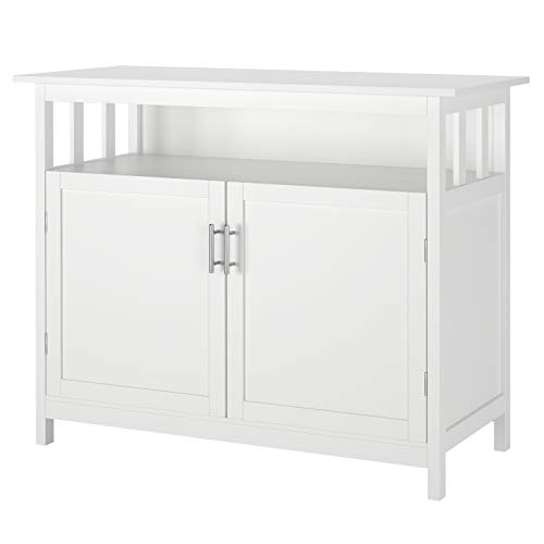 Mueble Aparador Aparador Buffet Cocina Mueble Almacenaje Madera con 3 Compartimentos 2 Puertas para Comedor Salón Entrada (Blanco)
