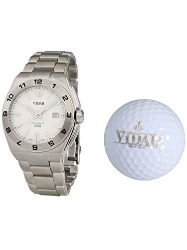 VIDAR Herren-Automatikuhr Golf Impact weiß | Herrenuhr | Automatik | silberfarben